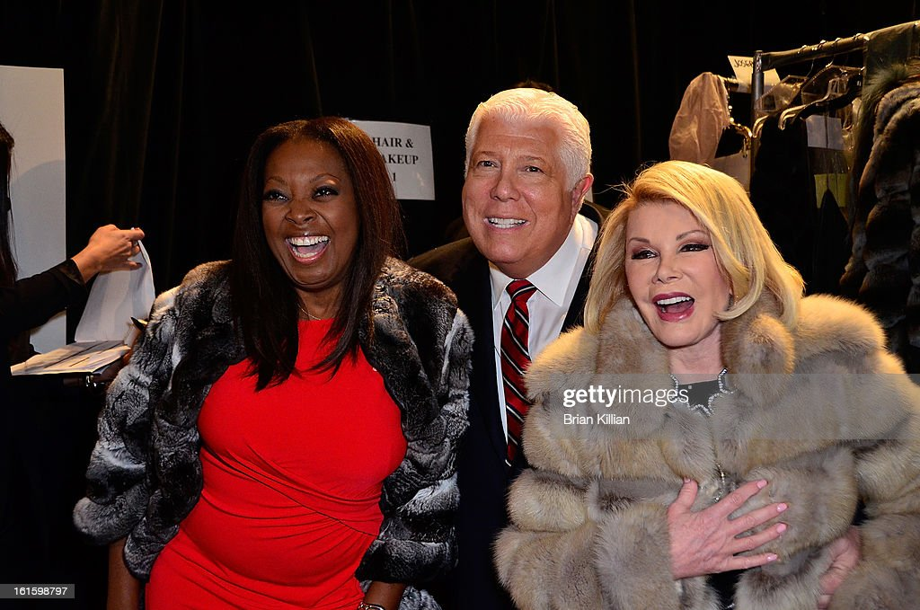 <a gi-track='captionPersonalityLinkClicked' href=/galleries/search?phrase=Star+Jones&family=editorial&specificpeople=202645 ng-click='$event.stopPropagation()'>Star Jones</a>, Dennis Brasso and <a gi-track='captionPersonalityLinkClicked' href=/galleries/search?phrase=Joan+Rivers&family=editorial&specificpeople=159403 ng-click='$event.stopPropagation()'>Joan Rivers</a> attend Dennis Basso during Fall 2013 Mercedes-Benz Fashion Week at The Stage at Lincoln Center on February 12, 2013 in New York City.