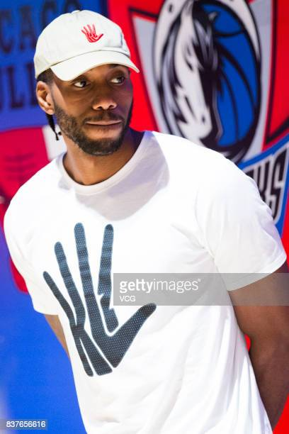 NBA star Kawhi Leonard of San Antonio Spurs attends a fan meeting during his China tour at NBA Playzone on August 23 2017 in Shanghai China