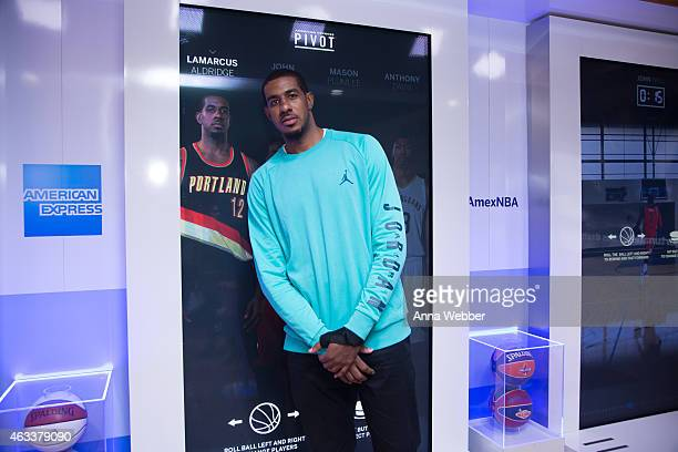 Star LaMarcus Aldridge at the American Express PIVOT Fan Experience in NBA House at NBA AllStar 2015 at Skylight at Moynihan Station on February 13...