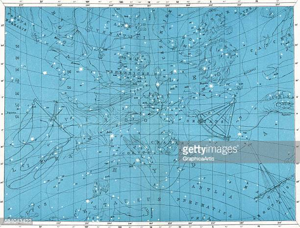 Star map of the constellations Leo Virgo Hydra Libra Sextans Leo Minor and Bootes 1922 Printed and published by W AK Johnston Edinburgh Color...