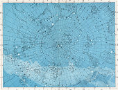 Star map of the constellations Lynx Ursa Major Draco Cygnus Andromeda Casseiopea and Perseus at the North Pole 1922 Printed and published by W AK...