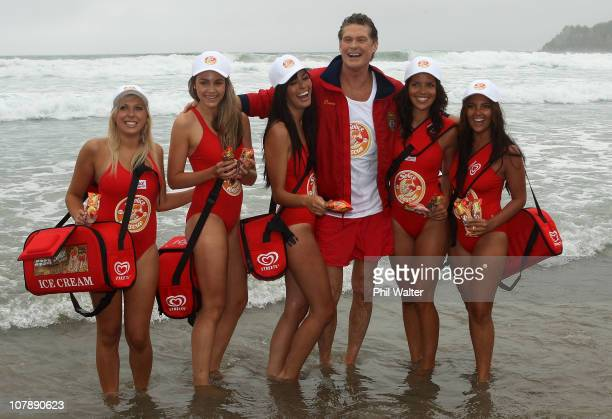 Star of Baywatch David Hasselhoff poses on the beach during a promotion for the new 'Splice Real Fruit' ice block at Mt Maunganui Main Beach on...