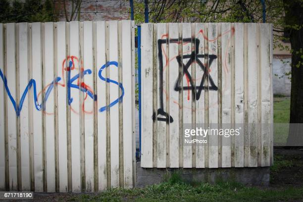 A star of David is seen depicted hanging from a gallows indicating antisemitic symbolism on 22 April 2017 Since the end of 2015 when the conservative...