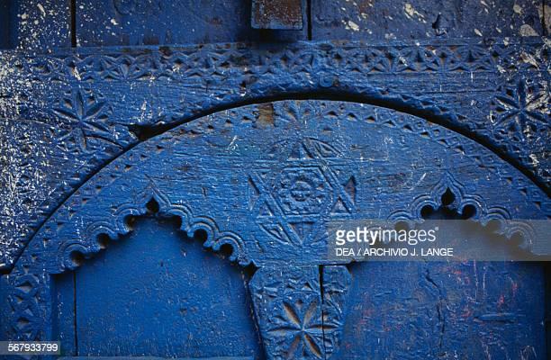 Star of David symbol on a house door the Jewish quarter in Ibb Yemen