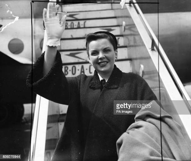 Star of Hollywood musical films Judy Garland is on a variety tour of Britain It keeps her busy but not too busy to make flying trips Here she is in...
