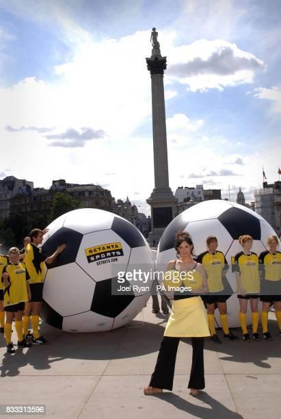 Star of Setanta's latest TV ad campaign Thaila Zucci launches their debut Barclays Premier League season coverage at Trafalgar Square in central...
