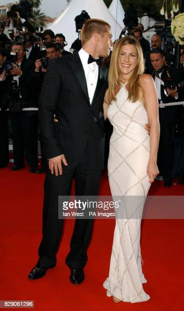 Star of the film Brad Pitt and his wife Jennifer Aniston arrive for the premiere of Troy at the Palais de Festival during the 57th Cannes Film...