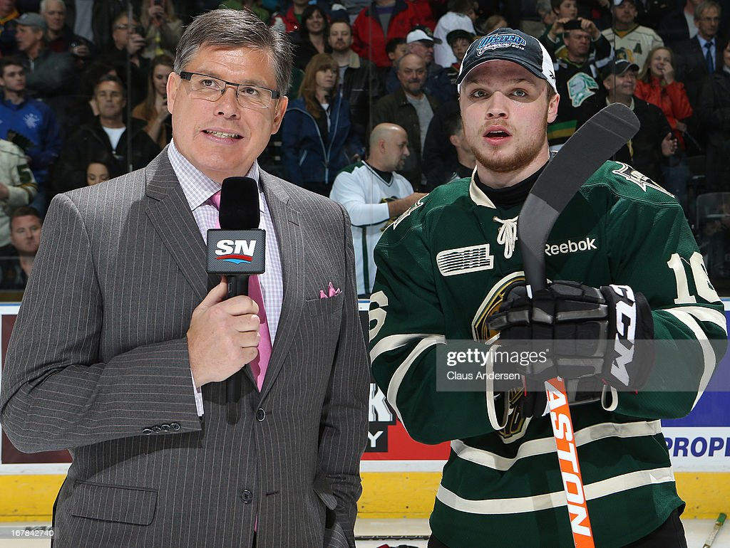 Star of the game Max Domi #16 of the London Knights gets set for an interview with Sportsnet's Rob Faulds after winning Game Five of the Western Conference Final against the Plymouth Whalers on April 26, 2013 at the Budweiser Gardens in London, Ontario, Canada. The Knights defeated the Whalers 5-4 in overtime to win the series 4-1.