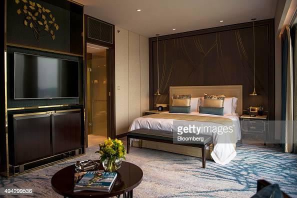 A Star Premier King room sits in the Star Tower at the Studio City casino resort developed by Melco Crown Entertainment Ltd ahead of the grand...