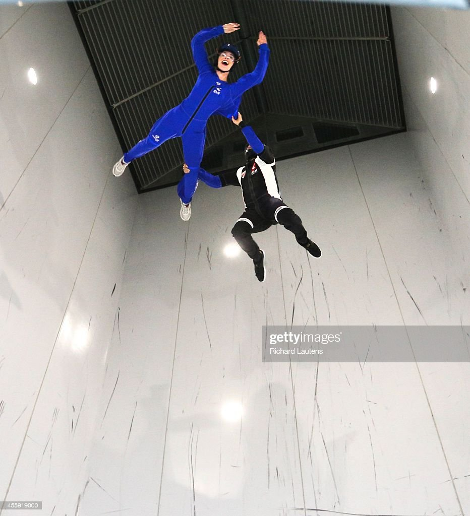 Star reporter Lauren Pelley (in blue) goes up nearly 45 feet with instructor Adrian Uracz. iFly is a relatively new indoor skydiving facility in Oakville. The custom build facility has a 45 foot high vertical wind tunnel that mimics the sensation of free fall skydiving.