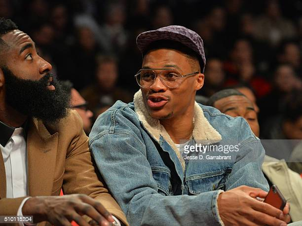 Star Russell Westbrook looks on with James Harden during the Verizon Slam Dunk Contest as part of the 2016 NBA All Star Weekend on February 13 2016...