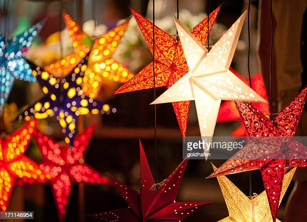 star shaped laterns, festively christmas decoration