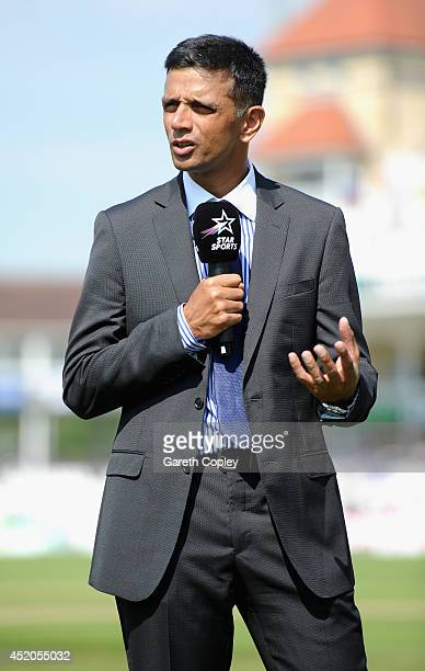 Star Sports commentator Rahul Dravid ahead of day four of 1st Investec Test match between England and India at Trent Bridge on July 12 2014 in...