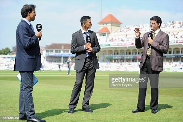 Star Sports commentators Harsha Bhogle Rahul Dravid and Sourav Ganguly ahead of day four of 1st Investec Test match between England and India at...