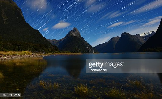Star trail in Milford sound, New Zealand.