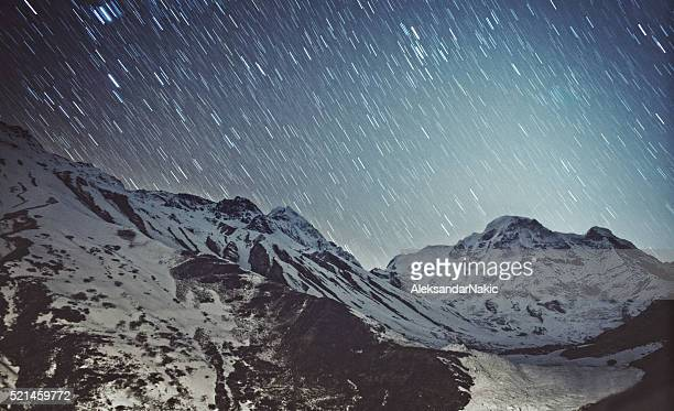 Star trail on Himalayas