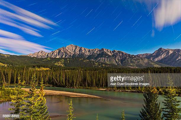 Star trails above the Front Ranges in Banff National Park, Alberta, Canada.