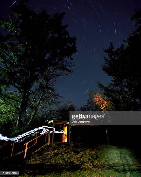Star trails and yurt camping