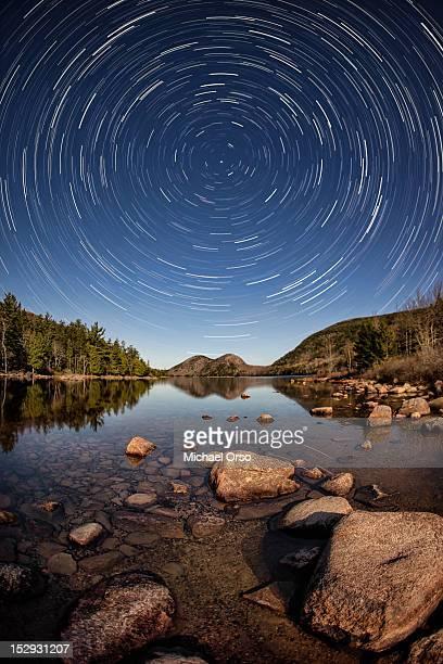 Star trails at Jordan pond