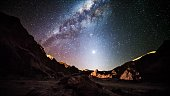 Amazing Star trails in Atacama desert Chile