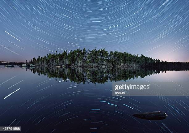 Star Trails Mirrored on Lake