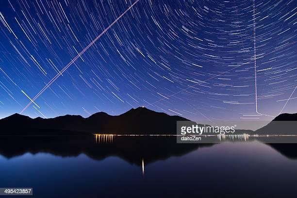 Star trails over Lake Walchensee, Bavaria, Germany