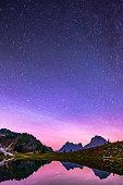 Reflecting star trails in a mountain tarn near Mt. Baker.