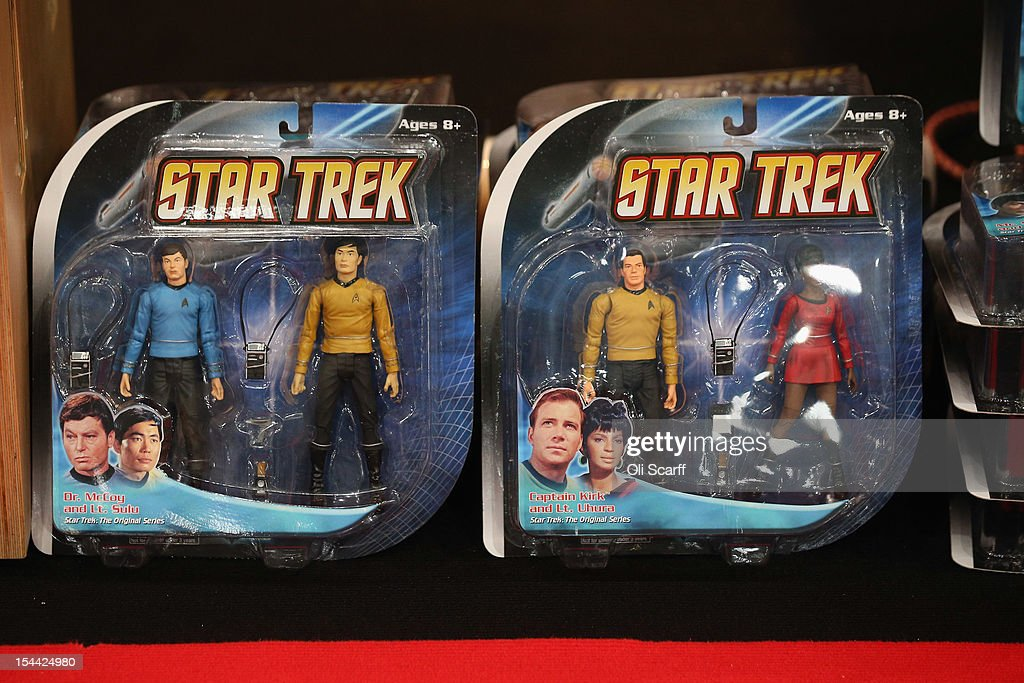 Star Trek figures for sale at the 'Destination Star Trek London' convention at the ExCeL centre on October 19, 2012 in London, England. The three-day convention, which opened to the general public today, will be attended by all five actors who played captains throughout the 46-year-old series.