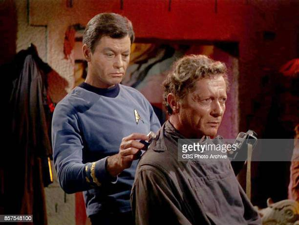 Star Trek The Original Series Season 1 Episode 1 'The Man Trap' Pictured DeForest Kelley as Dr McCoy and Alfred Ryder as Professor Robert Crater From...