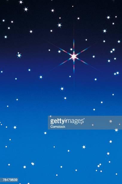 Star twinkling in sky