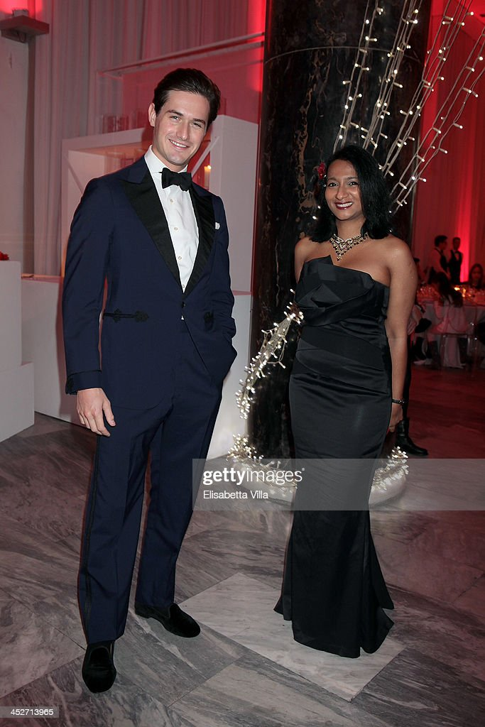 Star violinist Charlie Siem, left, and pianist Caroline Jaya-Ratnam attends The Children For Peace Benefit Gala Ceremony at Spazio Novecento on November 30, 2013 in Rome, Italy.