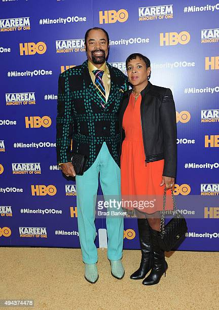 Star Walt Frazier and wife Marsha Clark attend the 'Kareem Minority Of One' New York Premiere at Time Warner Center on October 26 2015 in New York...