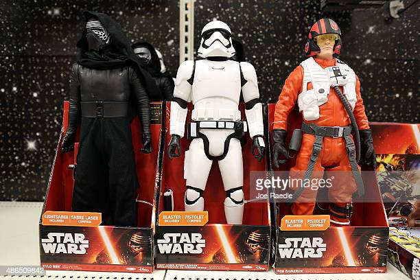 Star Wars action figures are seen for sale at a Target store on September 4 2015 in Miami Florida The merchandise is on sale ahead of the December...