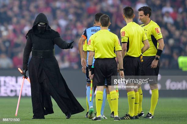 Star Wars character Kylo Ren attends the coin toss during the round 10 ALeague match between the Western Sydney Wanderers and Sydney FC at ANZ...