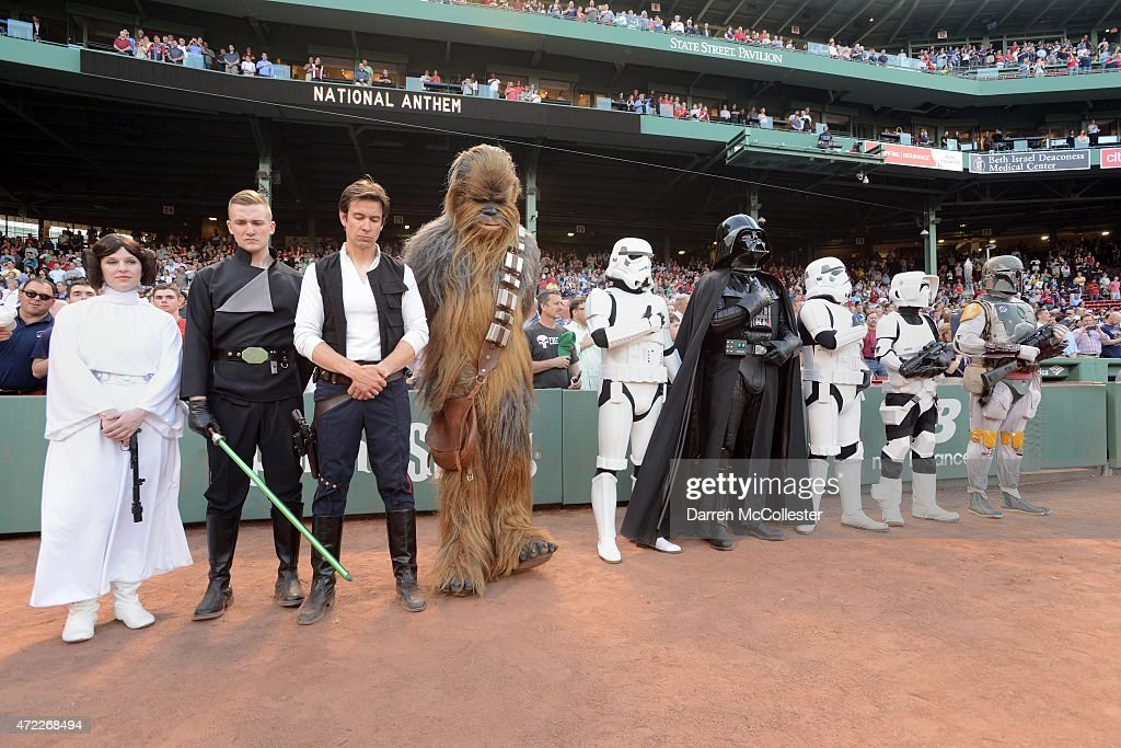 Star Wars characters attend the game between the Boston Red Sox and the Tampa Bay Rays at Fenway Park on May 4, 2015 in Boston, Massachusetts. The Rays won 5-1.