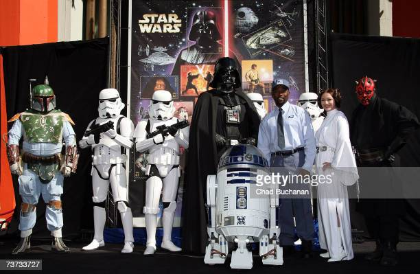 Star Wars characters Boba Fett Imperial Stormtroopers Darth Vader R2D2 Princess Leia Darth Maul and Postman Neosia Morris help the United States Post...