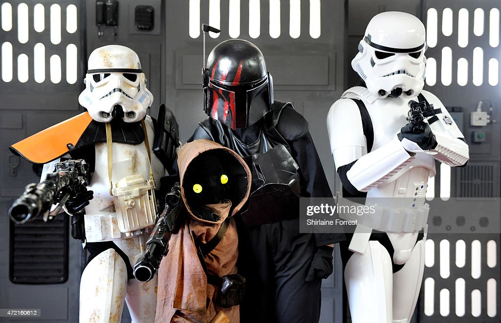 Star Wars characters Imperial Stormtroopers and a Jawa (c) by The 99th Garrison attend Star Wars Fan Fun Day at Burnley Football Club on May 4, 2015 in Burnley, England.