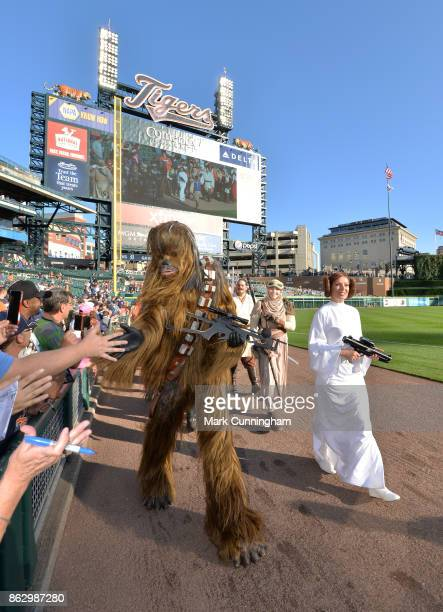 Star Wars characters parade around the field prior to the Star Wars Night game between the Detroit Tigers and the Chicago White Sox at Comerica Park...