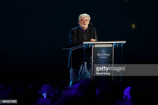Star Wars director George Lucas speaks after being honored at the Disney Legends Awards at the D23 Expo 2015 in Anaheim California US on Friday Aug...