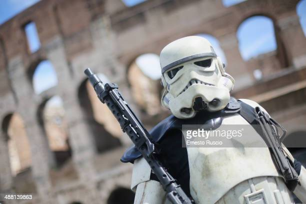 Star Wars fan dressed as a Storm Trooper during the Star Wars Day 2014 at Colloseo on May 4 2014 in Rome Italy