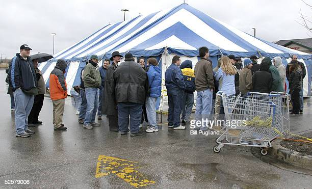 Star Wars fans line up and wait in the rain for a chance to buy the newly released Star Wars toys and merchandise at a special '48 Hours of The...