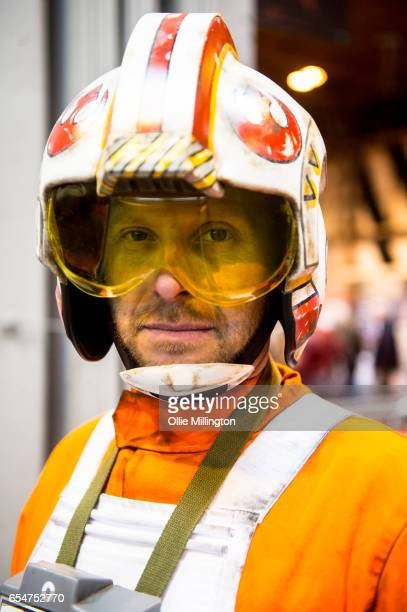 Star Wars rebel pilot poses during the MCM Birmingham Comic Con at NEC Arena on March 18 2017 in Birmingham England