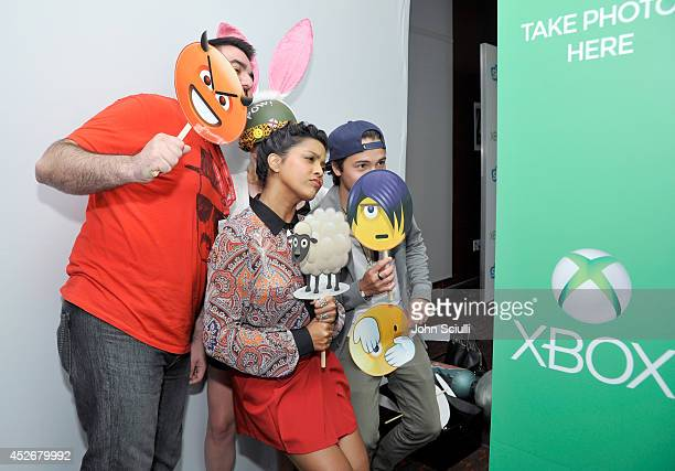 'Star Wars Rebels' actors Tiya Sircar and Taylor Gray drop by the Microsoft VIP Lounge photobooth during ComicCon on July 25 2014 in San Diego...