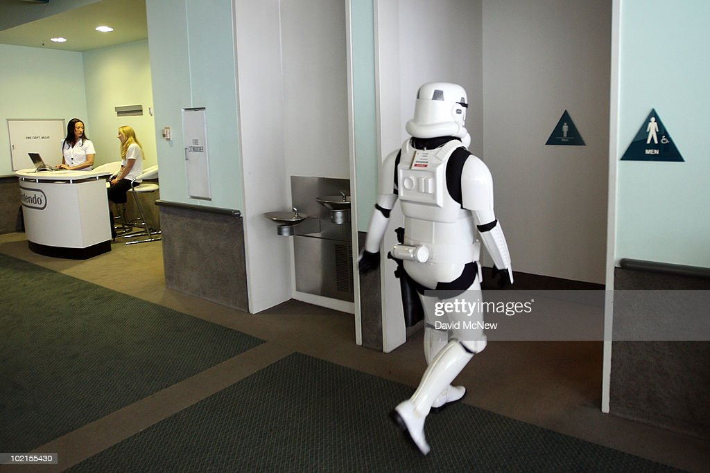 A Star Wars storm trooper character takes a break during the annual Electronic Entertainment Expo (E3) at the Los Angeles Convention Center on June 16, 2010 in Los Angeles, California. The Entertainment Software Association expects 45,000 people to attend the E3 expo featuring more than 250 gaming industry publishers and developers such as Nintendo, Microsoft and Sony.