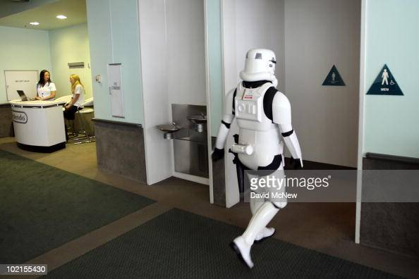 Star Wars storm trooper character takes a break during the annual Electronic Entertainment Expo at the Los Angeles Convention Center on June 16 2010...