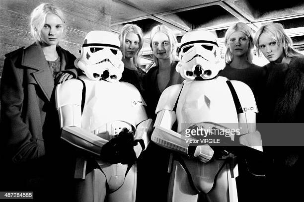 Star Wars storm troopers backstage at the Preen by Thornton Bragazzi Ready to Wear Fall/Winter 20142015 show at London Fashion Week AW14 at on...