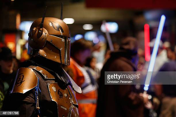 'Star Wars' themed fans mingle the concourse in honor of 'Star Wars' night before the MLB game between the Arizona Diamondbacks and the San Francisco...