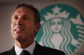 Starbucks CEO Howard Schultz speaks at an event celebrating a new partnership between Starbucks and nonprofit groups in New York City and Los Angeles...