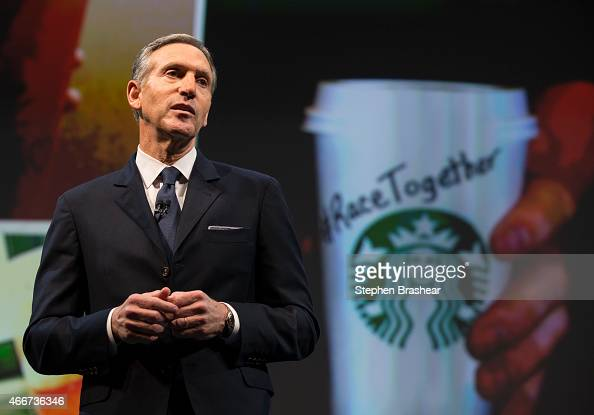 Starbucks Chairman and CEO Howard Schultz addresses the 'Race Together Program' during the Starbucks annual shareholders meeting March 18 2015 in...