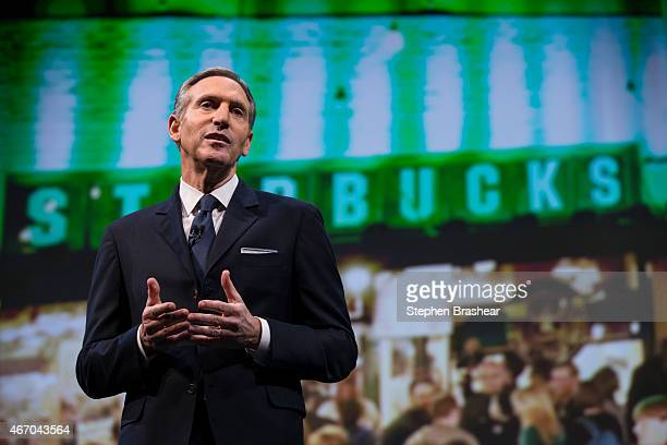 Starbucks Chairman and CEO Howard Schultz speaks during Starbucks annual shareholders meeting March 18 2015 in Seattle Washington Schultz announced a...